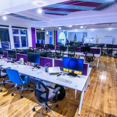 Purple dividers and light in office